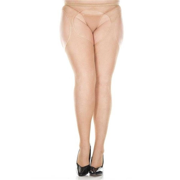 09fc12657 Shop Plus Size Fishnet Suspender Seamless Pantyhose