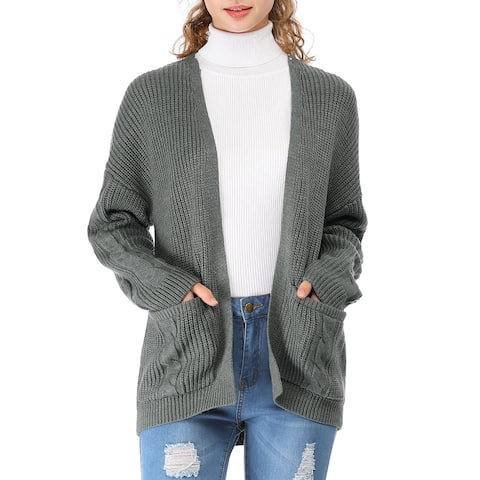 Women's Cable Knit Open Front Casual Loose Cardigan Sweater with Pockets - Dark Grey