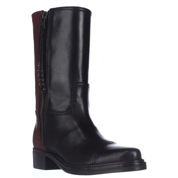 Coach Short Western Mid-Calf Two-Tone Boots, Black/Sienna - 6 us