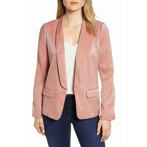 Chelsea28 Womens Blazer Pink Size XS Open Front Shimmery Long Sleeve