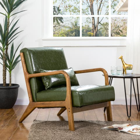 Glitzhome Mid-century Modern Hunter Green PU Leather Accent Armchair with Walnut Rubberwood Frame