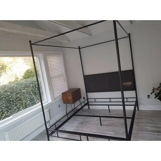 Lauren Grey Upholstered Queen-size Canopy Bed