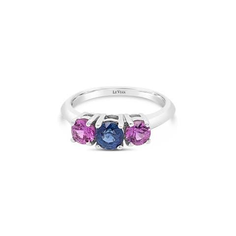 Encore by Le Vian Pink & Multi- Sapphire & Diamond 14K White Gold Ring Size 7