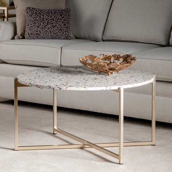 """Maeve 18.5"""" Terrazzo Accent Table in Gold - 34""""Rnd x 18""""H. Opens flyout."""