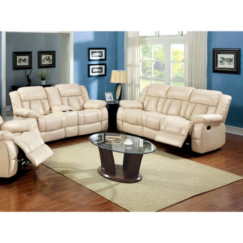 Furniture of America Tumi Traditional Ivory 2-piece Recliner Sofa Set
