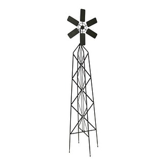 Dark Brown Metal Windmill Garden Trellis 62 in.
