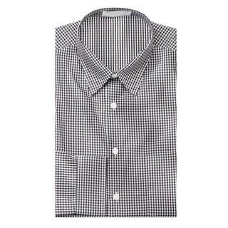 Prada Men's Gingham Pointed Collar Cotton Dress Shirt Black