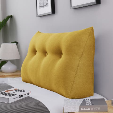 WOWMAX Bed Rest Wedge Bolster Pillow Yellow Decorative Lumbar Pillow