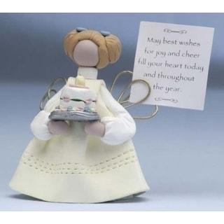 Heavenly Wishes Birthday Angel Holding A Cake Figurine