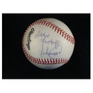 Signed Muhammad Eddie Mustafa National League Baseball in Blue Ink on the left panel autographed