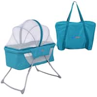 SafePlus Lightweight Foldable Baby Bassinet Rocking Bed Mosquito Net Carrying Bag Travel - Green