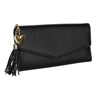 CTM® Women's Envelope Wallet with Heart Tassel - One size