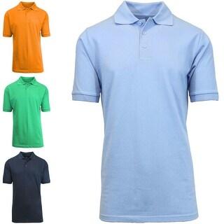 Men's 3 Button Cotton Short Sleeve Polo
