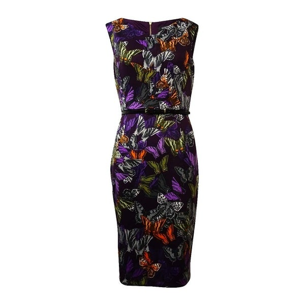 Ellen Tracy Women's Cap Sleeves V-Neck Dress - Purple/Multi