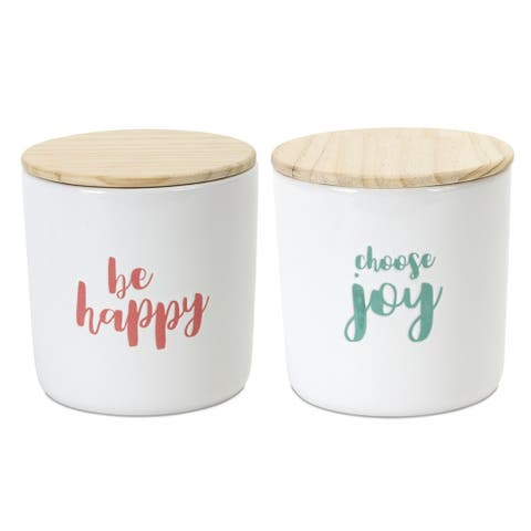"""Pack of 6 White Stoneware with Wooden Cover 2-Assorted Canisters 4.75"""""""