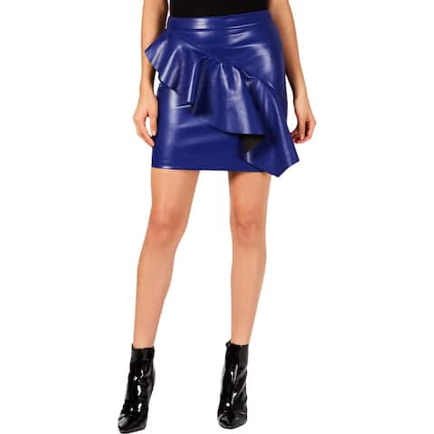 Guess Womens Lexie Flounce Skirt Faux Leather Ruffled - 8