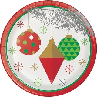 Club Pack of 96 Red, Green and Grey Christmas Tree Ornaments Printed Luncheon Plates 6.87""
