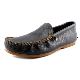Minnetonka Venetian Men Moc Toe Leather Black Loafer