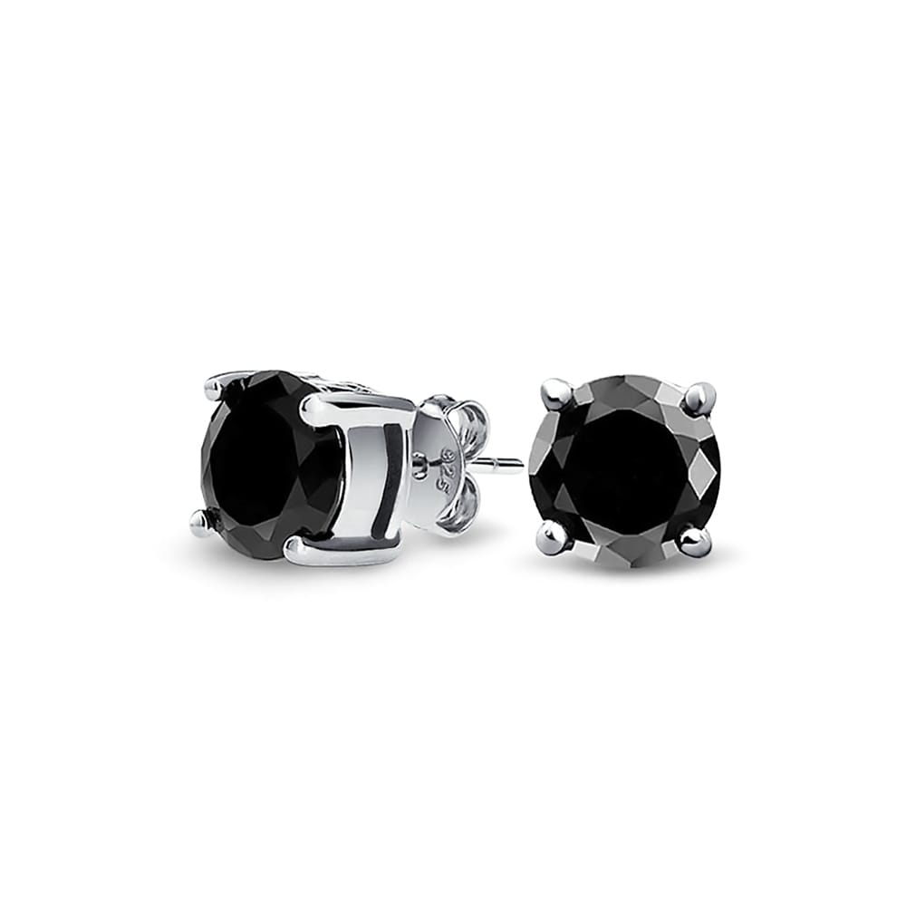 1 CT Black Invisible Cut Round CZ Prong Basket Set Stud Earrings Sterling Silver