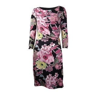 B-Slim Women's Lovely Floral Metal Embellished Waist Dress - Pink - XS
