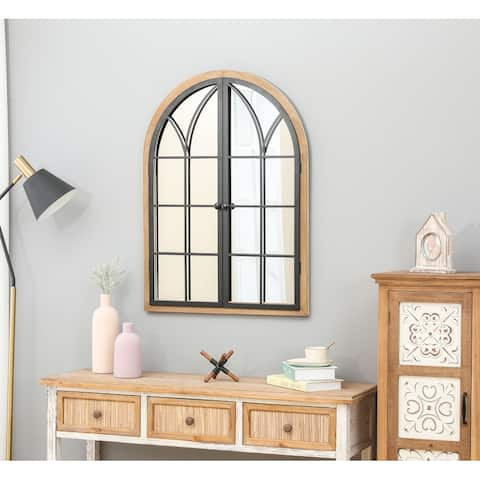 Brown and Black Wood/Metal Arched Window Wall Mirror - 35.83in. H x 26in. W