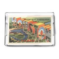 Houston, Texas - Large Letter  - Vintage Halftone (Acrylic Serving Tray)