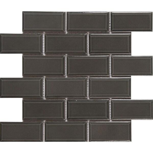 "MSI SMOT-PT-CHA-2X4B 2"" x 4"" Brick Joint Mosaic Tile - Glossy Porcelain Visual - Sold by Carton (13.65 SF/Carton) - Charcoal"