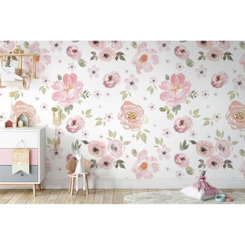Watercolor Soft Colorful Flowers Removable Textile Wallpaper