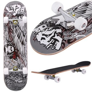 Costway 31'' x 8'' Professional Skateboard Longboard Complete Trucks Maple Deck Wood Child - as pic