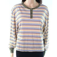 Cactus + Pearl Mustard  Green Womens Size Small S Striped Knit Top