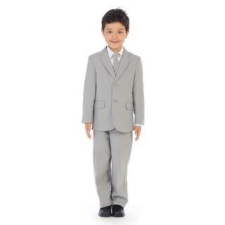 Angels Garment Little Boys Silver Jacket Pants Vest Tie Shirt Handsome Suit (More options available)