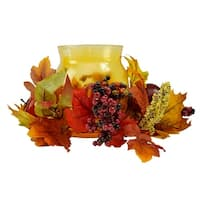 "17"" Autumn Harvest Apple and Berry Hurricane Glass Pillar Candle Holder"