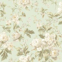 York Wallcoverings WA7805 Waverly Classics Forever Yours Wallpaper - pale mint/white/beige/light gray/apricot