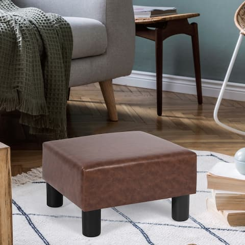 Adeco Footstool Ottoman PU Leather Footrest Modern Square Stool