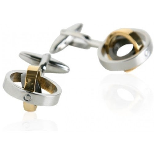 Tri-Color Movable Rings Cufflinks