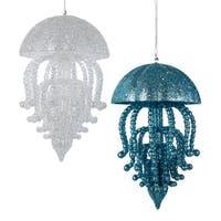 Kurt Adler Glittered Jellyfish  Holiday Ornaments Blue and White Set of 2