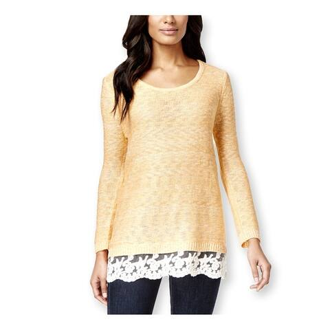 Style & Co. Womens Lace-Hem Marled Pullover Sweater