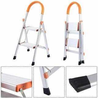 Costway Non-slip 2 Step Aluminum Ladder Folding Platform - as pic