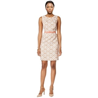 Connected Apparel Petite Geo Print Belted Sleeveless Sheath Dress - 14P