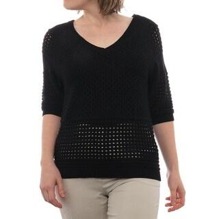 Halston Heritage 3/4 Sleeve V-Neck Sweater Women Regular Sweater
