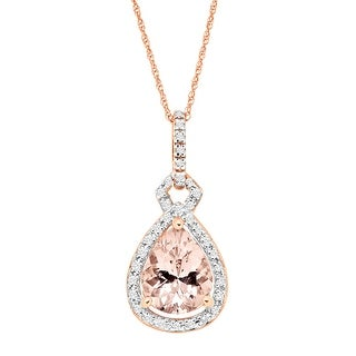 2 ct Natural Morganite & 1/6 ct Diamond Pear Drop Pendant in 10K Rose Gold - Pink