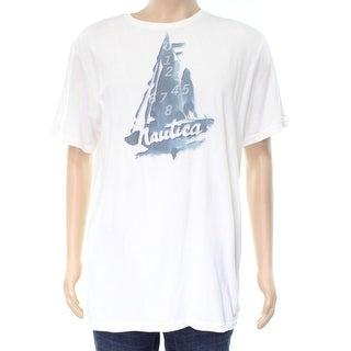 Nautica NEW White Mens Size Large L Graphic Printed Tee Shirt Cotton