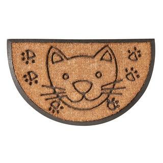 Cat Half Moon Doormat - Coir and Rubber