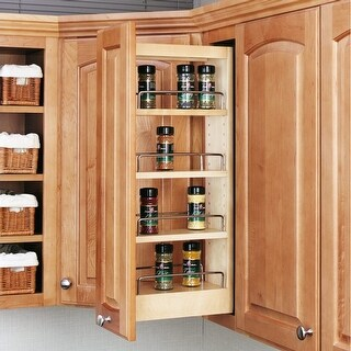 """Rev-A-Shelf 448-WC-5C 448 Series 9"""" Upper Wall Cabinet Pull Out Shelves - Natural"""