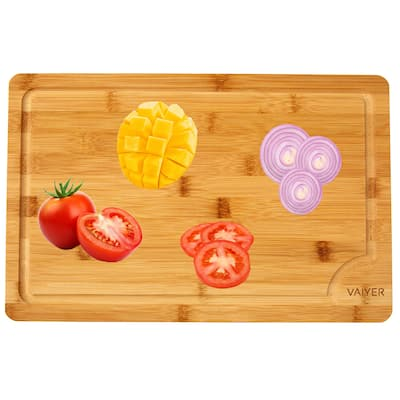 Vaiyer Organic Bamboo Cutting Board w/ Juice Groove, Heavy Duty Kitchen Chopping Board for Meat, Chicken, Cheese and Vegetables