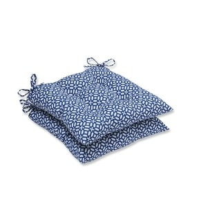 """Set of Two """"Royal Opulence """" Royal Blue and Pearl White Wrought Iron Seat Cushions 19"""""""