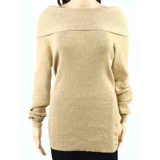 INC NEW Gold Women's Size Medium M Boat Neck Shimmer Ribbed Sweater