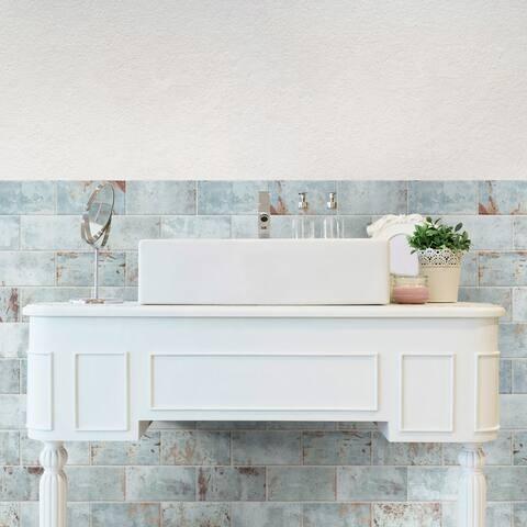 """SomerTile Biarritz Green 3"""" x 6"""" Ceramic Wall Tile"""