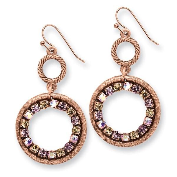 Copper Teal & Brown Glass Stone w/ Teal Enamel Earrings