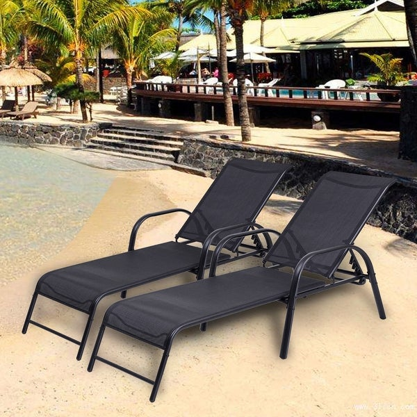 Costway Set Of 2 Patio Lounge Chairs Sling Chaise Lounges Recliner Adjule Back Black